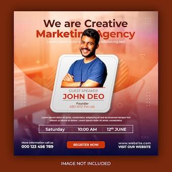 Webinar live di marketing digitale e modello di post sui social media aziendali