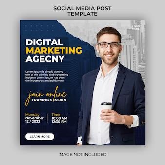 Modello di banner post sui social media per la promozione di webinar dal vivo di marketing digitale