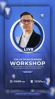 Webinar live di marketing digitale e modello di storia sui social media per workshop per facebook e instagram
