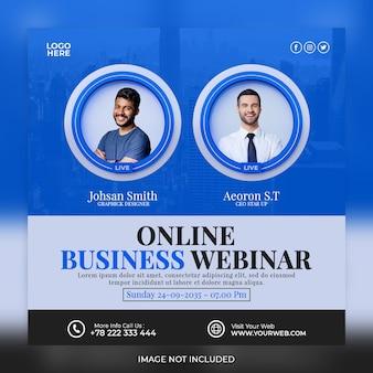 Webinar aziendale online di marketing digitale post sui social media