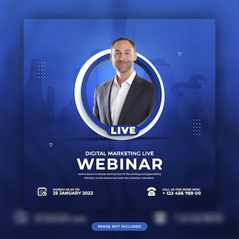 Marketing digitale online live webinar social media promozionale modello di post design