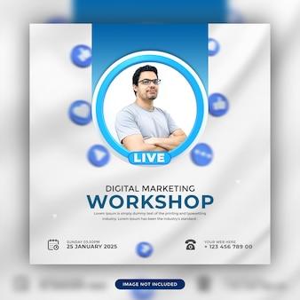 Progettazione di modelli di post promozionali sui social media online di webinar in diretta di marketing digitale