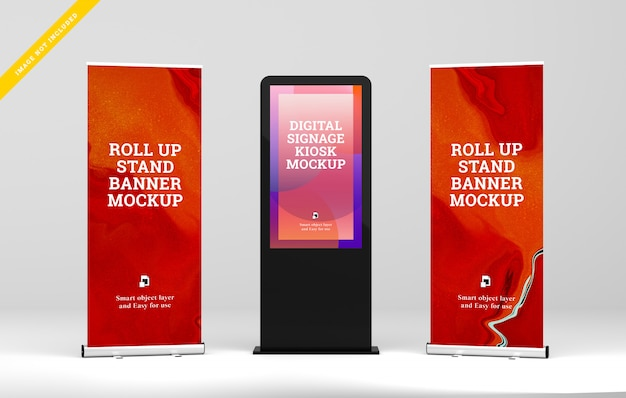 Display digitale per segnaletica digitale con roll up mockup.