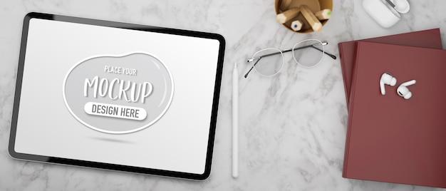 Tavoletta digitale con accessori per schermi mockup
