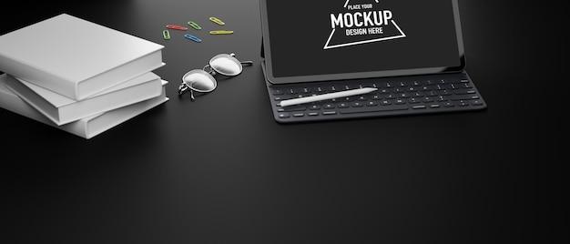 Tablet digitale con accessori per schermo mockup
