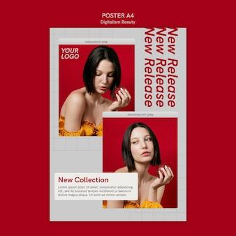 Modello di poster di bellezza digitalismo con foto