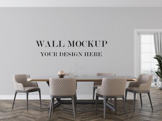 Mockup della sala da pranzo per cambiare la superficie del muro