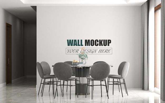 Sala da pranzo con grande mockup di muro di tavolo rotondo Psd Premium
