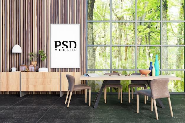 Sala da pranzo con grandi finestre che prendono luce dalla natura e cornici Psd Premium
