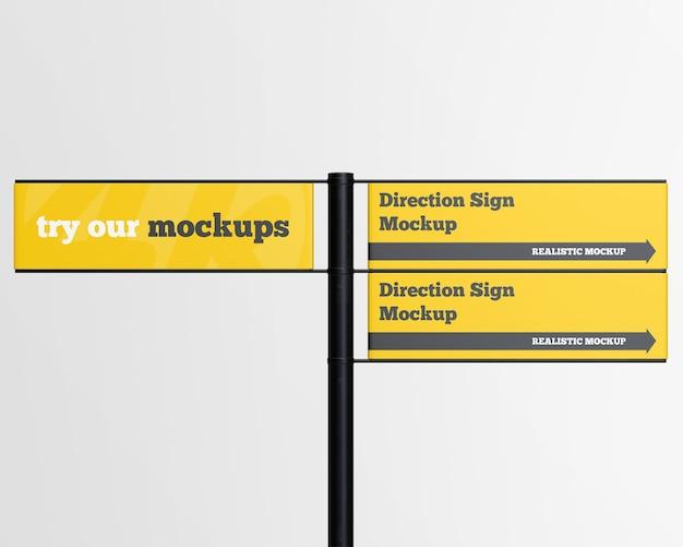 Mockup di segno di direzione isolato