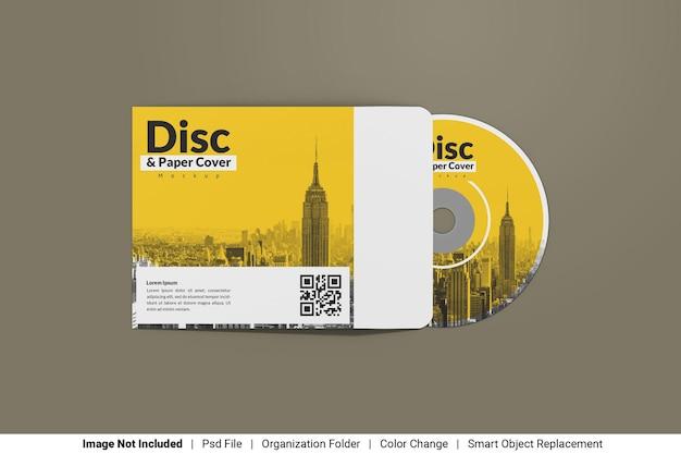 Disco con mockup di copertina di carta