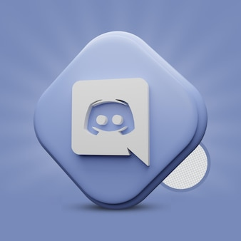 Rendering dell'icona 3d di discord