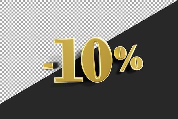 Sconto del 10 percento con rendering 3d color oro isolato