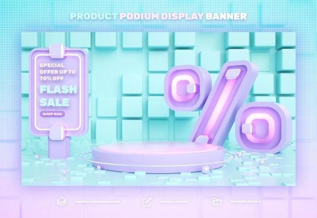 Sconto banner di visualizzazione del prodotto podio rosa 3d sulla vendita speciale di vendita flash e vendita super mega
