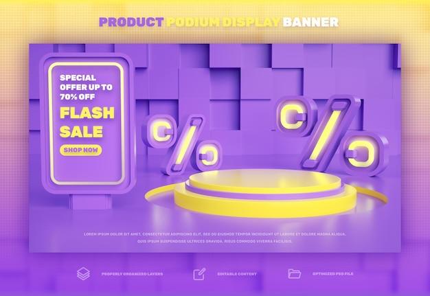 Sconto banner di visualizzazione del prodotto sul podio 3d per la vendita speciale di vendita flash e la campagna di vendita super mega