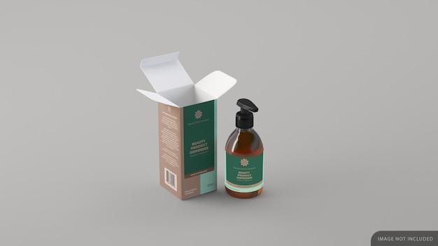 Bottiglia cosmetica dispenser con mockup di scatola Psd Premium
