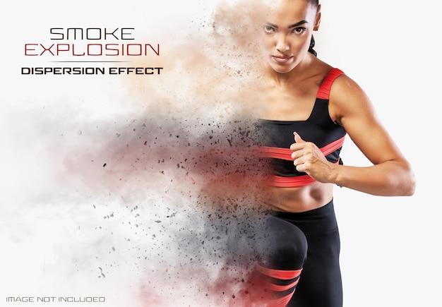 Effetto fotografico a dispersione con fumo e polvere