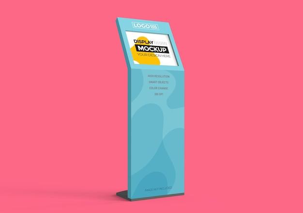 Mockup display con monitor per pubblicità e vendite promozionali.
