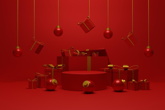 Mostra il podio natalizio per l'esposizione del prodotto