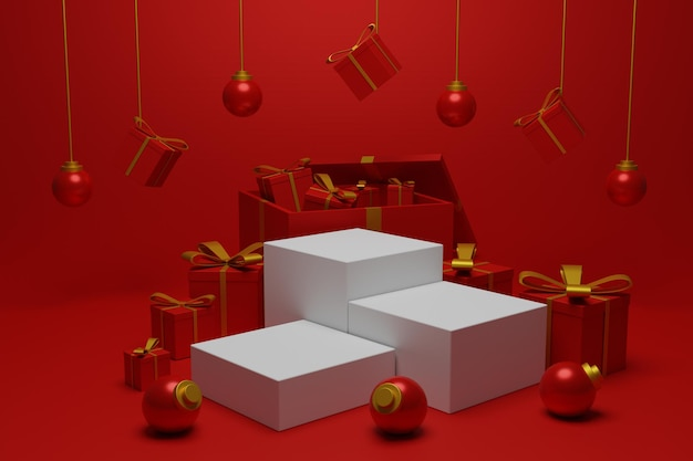 Mostra il podio natalizio per lo stand del prodotto