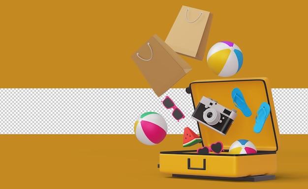 Visualizza valigia, attrezzatura da spiaggia rendering 3d