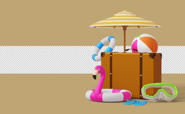 Visualizza la valigia del modello di vendita estiva con il rendering 3d degli accessori estivi