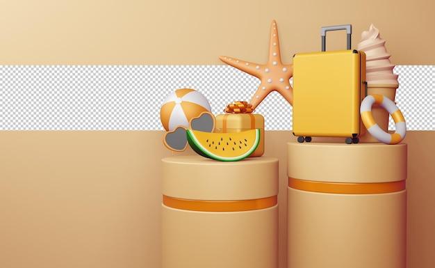 Visualizza modello di vendita estiva, stagione estiva in rendering 3d