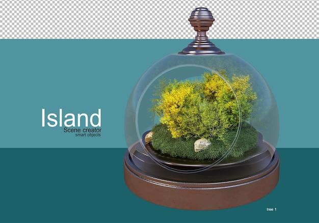 Mostra una varietà di alberi sull'isola
