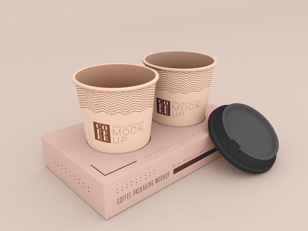 Tazza da caffè usa e getta con mockup di scatola