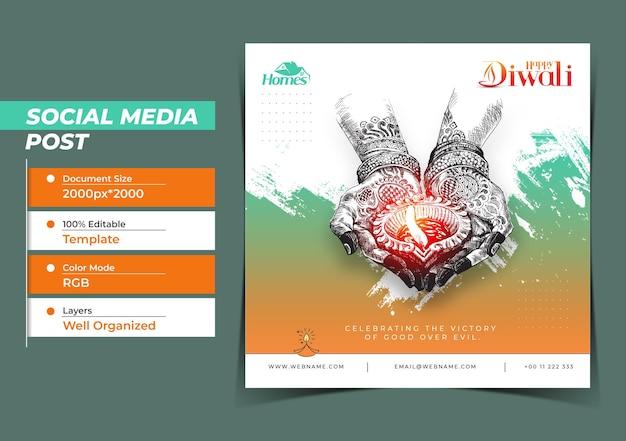 Diwali festival digital concept instagram e post sui social media