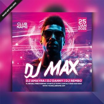 Modello di volantino festa dj max