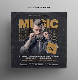 Modello di messaggio promozionale per dj music flyer