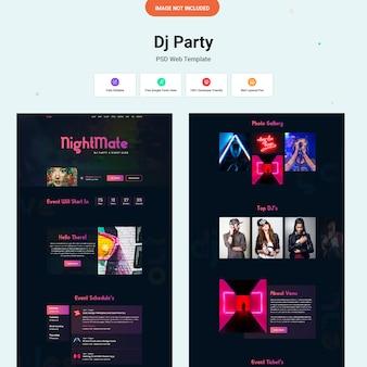 Interfaccia del sito web dj party