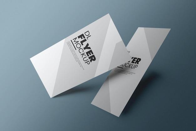 Dl flyer mockup design in rendering 3d