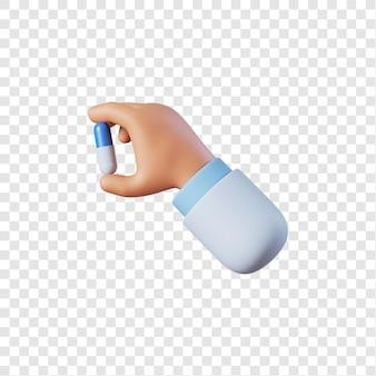 Mano di medico che tiene pillola blu