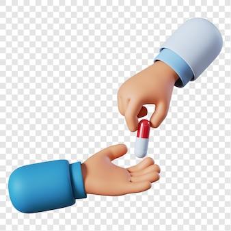 Mano di medico che tiene pillola rossa