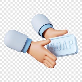Sapone della holding della mano del medico