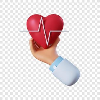 Mano di medico con cuore
