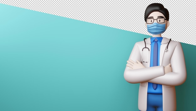 Uomo di medico con le braccia incrociate rendering 3d