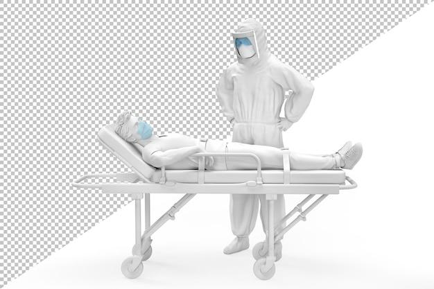 Dottore in tuta protettiva e paziente malato su una barella di rendering