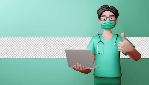 Medico che indossa la maschera thumbs up con notebook rendering 3d Psd Premium