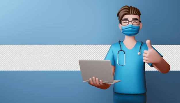 Medico che indossa la maschera thumbs up con notebook rendering 3d