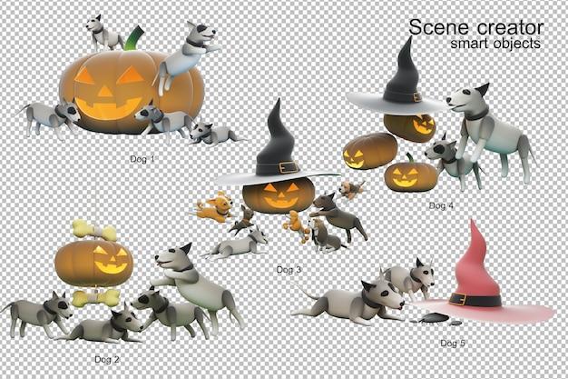 Illustrazione 3d di attività del cane isolata Psd Premium
