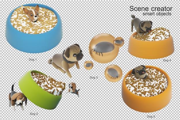 Illustrazione 3d di attività del cane isolata