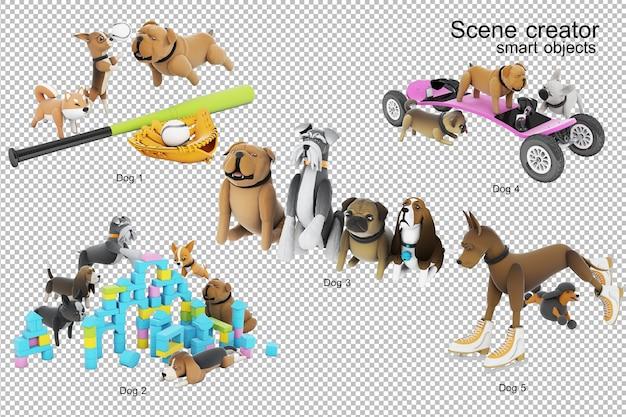 Rendering 3d dell'illustrazione di attività del cane