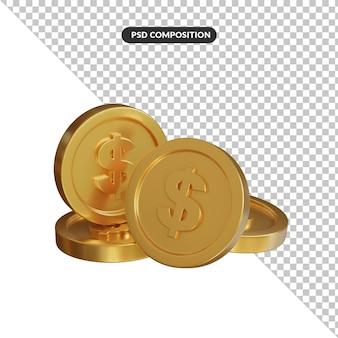 Visuale 3d della moneta del dollaro isolata