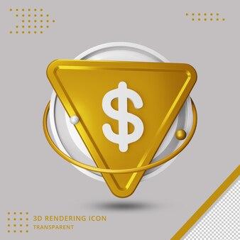 Icona del simbolo del dollaro nel rendering 3d isolato