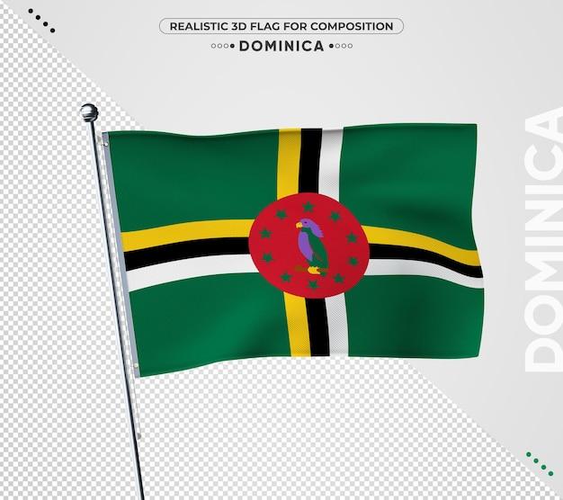 Bandiera della dominica con texture realistica