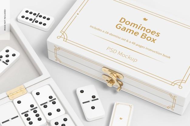 Mockup di scatole di gioco del domino, primo piano