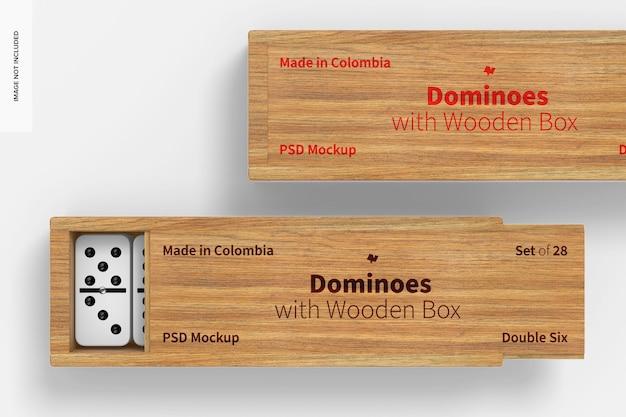 Domino con scatola di legno mockup, primo piano